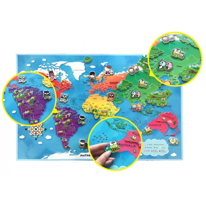 Characters travel around our world magnetic map puzzles book sanrio characters travel around our world magnetic map puzzles book gumiabroncs Images