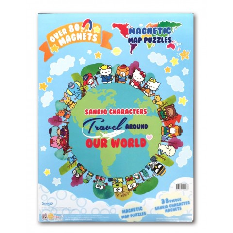 Sanrio Characters Travel Around Our World Magnetic Map Puzzles Book